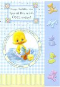Boys Wuvable Duck Age 1 Birthday Card